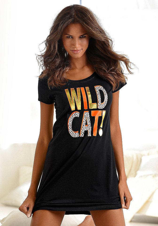 Ночная рубашка OttoОдежда для сна<br>Короткий покрой с блестящей надписью «Wild Cat» спереди. Оранжевого цвета с модным эффектом меланж. Из 100 % хлопка.<br><br>Size DE: 32<br>Colour: черный<br>Gender: Женский<br>Age: Взрослый<br>Material: Верх: 100% хлопок