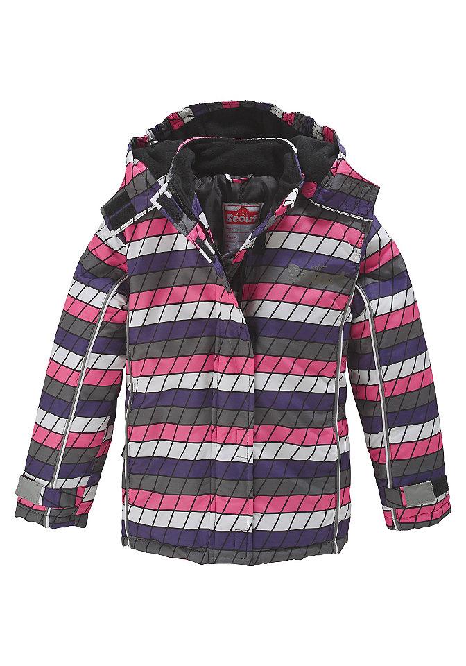 Scout, лыжная куртка со светоотражающей отделкой, для девочек, в клетку OttoБрюки<br>С отстёгивающимся капюшоном. Функциональные детали: Рукава с застёжкой «липучка» и защитой от ветра снаружи и внутри по нижнему краю. Карманы на молнии, светоотражающая окантовка и небольшой рисунок «SCOUT» на линии груди. Внутренний карман и этикетка с названием бренда. Капюшон на мягкой подкладке из флиса можно отстегнуть. Разнообразные светоотражающие аппликаторы расположены так, что их видно даже если ребёнок несёт ранец на спине! Поверх застёжки на молнию расположена планка с застёжкой«липучкой», которая также защищает подбородок. Лицевой материал, подкладка и утеплитель: Из 100 % полиэстера.<br><br>Size DE: 110<br>Colour: розовый<br>Age: Детский<br>Material: Подбивка: 100% полиэстер;Подкладка: 100% полиэстер;Верх: 100% полиамид