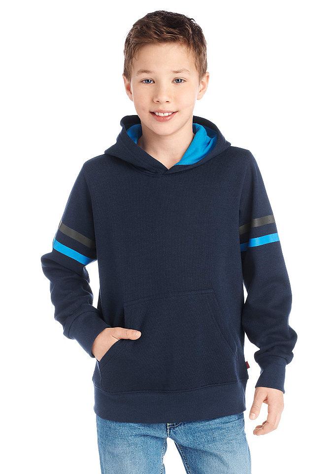 Толстовка с капюшоном от CFL для мальчиков OttoСпортивная одежда<br>С капюшоном на контрастной подкладке, практичным карманом «кенгуру» и рисунком в полоску на рукавах. С мягким начёсом внутри. 100 % хлопка.<br><br>Size DE: 176<br>Colour: синий<br>Gender: Мужской<br>Age: Детский<br>Material: Верх: 100% Baumwolle_(unterst?tzt_Cotton_made_in_Africa)