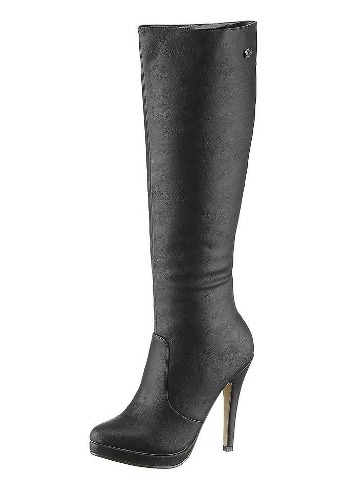 Сапоги на высоком каблуке OttoСапоги<br>Сапоги на высоком каблуке, Buffalo Girl. Искусственная кожа. Подкладка: текстиль. Стелька и подошва из синтетики, каблук высотой 11,5 см и платформа высотой 1,5 см. Ширина колодки: F (классическая), застёжка на молнию, высота голенища: 43 см, ширина голенища: 34 см для разм. 37<br><br>Size DE: 36<br>Colour: черный<br>Gender: Женский<br>Age: Взрослый
