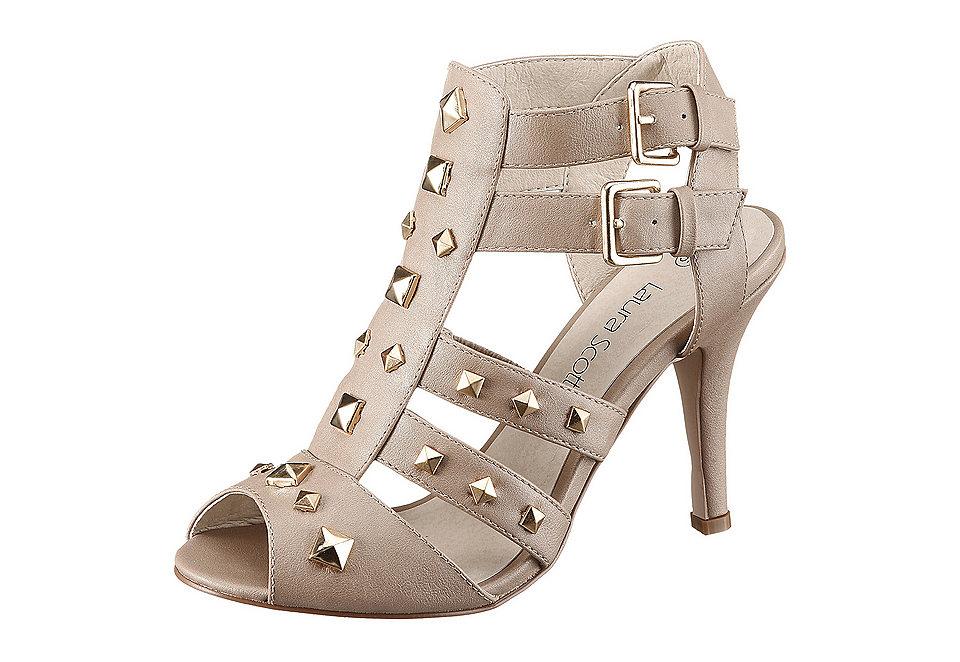 Босоножки на высоком каблуке OttoБосоножки и Cандалии<br>Босоножки на высоком каблуке, Laura Scott. Из искусственной кожи с отделкой золотистыми заклёпками. Регулируемые ремешки с пряжкой. Подкладка, стелька и подошва из синтетики, а также каблук высотой 9,5 см.<br><br>Size DE: 38<br>Colour: коричневый<br>Gender: Женский<br>Age: Взрослый