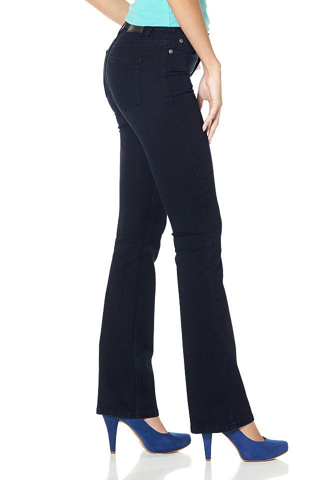 Джинсы-буткат Ultimate Bootcut OttoПокрой Bootcut<br>Расклешенные джинсы «Ultimate Skinny Bootcut» классического покроя с 5 карманами отличаются наличием двойных швов и эффектной декоративной отстрочки. Модель из эластичного денима имеет слегка заниженную посадку и застегивается на пуговицы. Рекомендована машинная стирка. Модель в оттенках темно-синий с потертостями, выбеленный серый, бирюзовый, сине-зеленый и светло-голубой: 71% хлопок, 27% полиэстер, 2% эластан. Модель в оттенках светло-серый с потертостями, черный: 75% хлопок, 23% полиэстер, 2% эластан.<br><br>Size DE: 46<br>Colour: синий<br>Gender: Женский<br>Age: Взрослый<br>Material: Верх: 71% хлопок / 27% полиэстер / 2% эластан