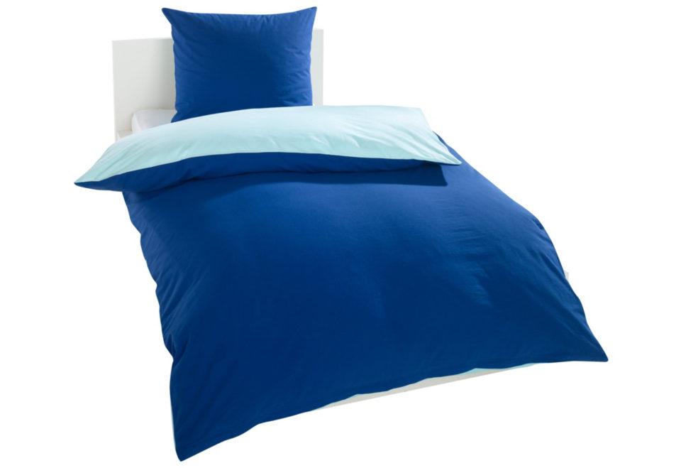 Schlafwelt, Wende-Bettwäsche, »Oslo«, blau/hellblau, Biber