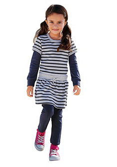 CFL Lányka szett: csíkos ruha & legging (2-részes)