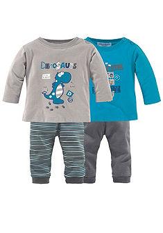 Klitzeklein 2 hosszú ujjú póló & 2 nadrág dinó nyomással (szett, 4 részes), babáknak
