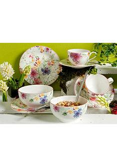 Reggeliző szett, prémium porcelán, »Mariefleur Basic«, Villeroy & Boch (8-részes)