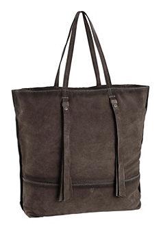 Marc o `Polo shopper táska táska bőrből, bőrrojtokkal