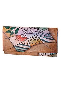 Art & Craft pénztárca kézzel festett bőrből