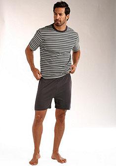 Le Jogger rövidnadrágos pizsama, rövid fazonú, felsőrésze  nyomott csíkos mintával, tiszta pamutból