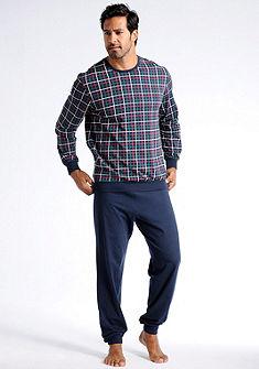 Schiesser pizsama, hosszú ujjú felső kockás nyomású anyagból