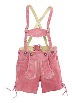 Marjo Dětské kožené krojové kalhoty s výšivkou