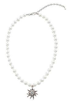 Dámský krojový náhrdelník s přívěskem a skleněnými korálky, Lusana