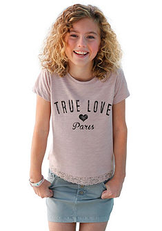 kidsworld Tričko s krajkovým lemem, pro dívky