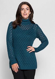 sheego Style azsúrmintás garbónyakú pulóver