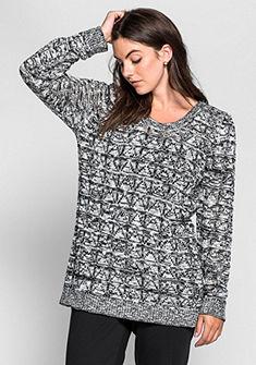 sheego Trend azsúrmintás kötött pulóver