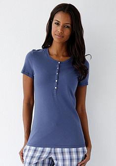 Schiesser Pyžamové tričko s kulatým výstřihem a knoflíkovou légou