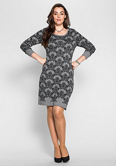 sheego Style kötött ruha jacquard mintával