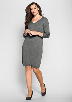 sheego Style Pletené šaty s ozdobnými kamienkami