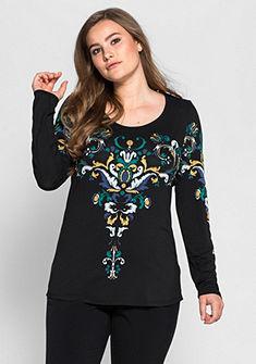 sheego Style Tričko s dlhým rukávom, potlač ornamentu