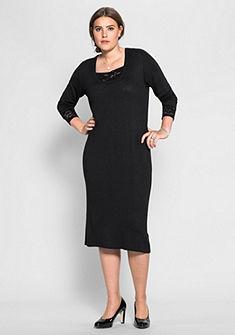sheego Style Pletené šaty s čipkou