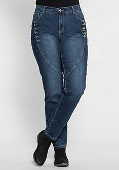 sheego Denim Boyfriend Elastické džíny na knoflík