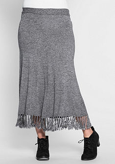 sheego Trend Pletená sukně s třásněmi
