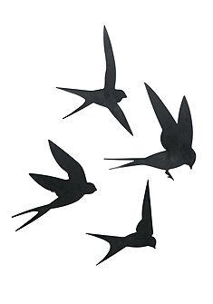 heine home Nástenná dekorácia-vtáky, 4-diel.