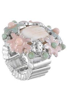 Klimm Dámsky krojový prsteň strendovou aplikáciou kvetov