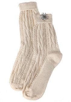 Népviseleti női zokni havasi gyopárt mintázó rátéttel
