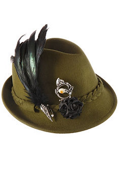 Alpenflüstern népviseleti kalap dekoratív toll fejdísszel