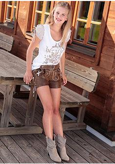 Marjo Krojové kožené nohavice krátke z pôvabnej kozej velúrovej kože