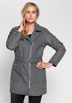 sheego Trend Prošívaná bunda v kombinací materiálu