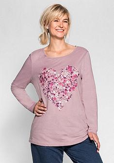 sheego Casual Tričko s dlouhým rukávem a květinovým potiskem ve tvaru srdce