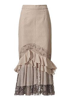 LINEA TESINI by heine Riflová sukně s volánkem