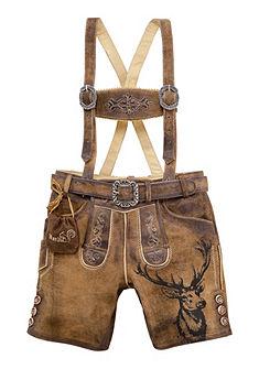 Country Line Krojové kožené detské nohavice s výšivkou