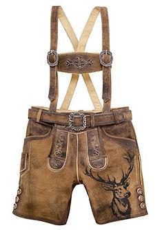 Country Line Krojové kožené dětské kalhoty s výšivkou