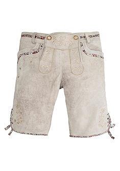 Marjo Krojové kožené nohavice krátke s výšivkou