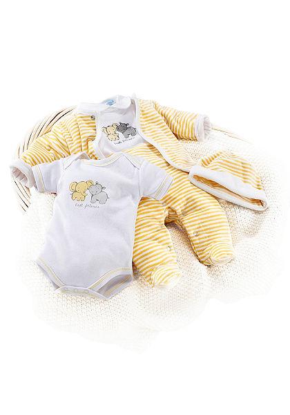 Klitzeklein bébi plüss szett: rugdalózó, body, póló, kabát, sapka