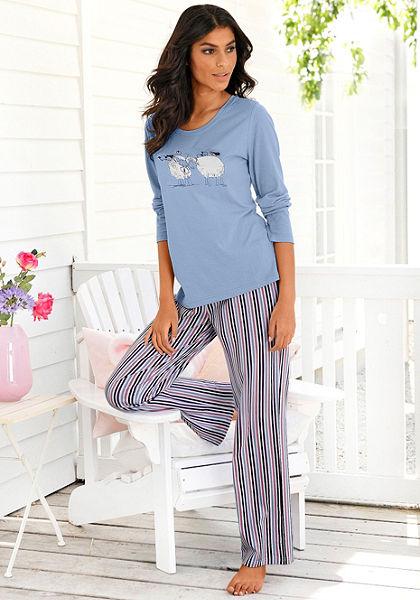 Pizsama Vivance, halványkék hosszú ujjú póló, csíkos nadrág, 100%pamut