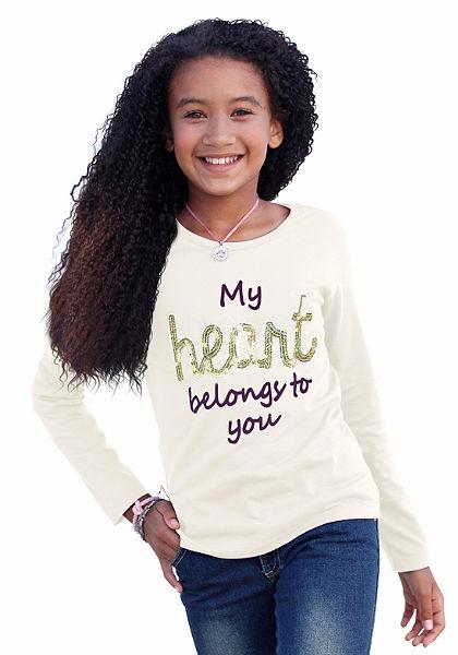 CFL hosszú ujjú póló flitterekkel, lányoknak