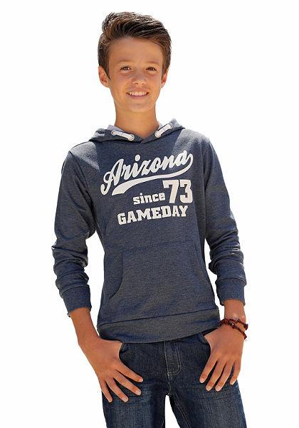 Arizona kapucnis hosszú ujjú póló az elején nagy nyomással, fiúknak