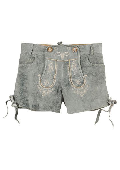 Dámské kožené krojové kalhoty s vyšívaným laclem, Stockerpoint