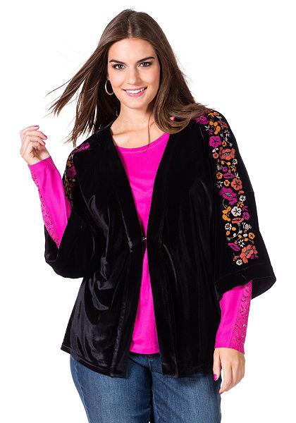 sheego Trend hímzett kimonó fazonú felsőrész