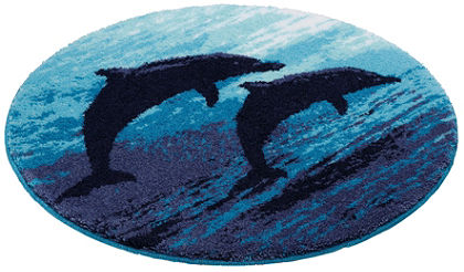 Fürdőszobaszőnyeg, kerek, Grund, »Delfin«, magasság 20 mm, csúszásgátló hátoldal