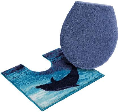 Fürdőszobaszőnyeg, álló WC szett, Grund, »Delfin«, magasság 20 mm, csúszásgátló hátoldal