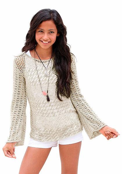 Arizona pulóver lyukacsos kötésmintával, lányoknak