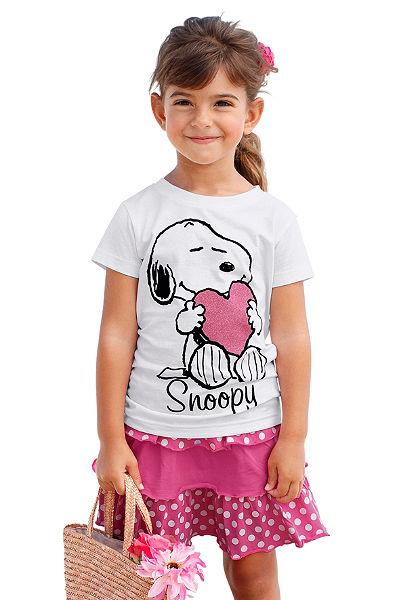 Snoopy póló & szoknya Snoopy nyomott mintával (szett, 2 részes), lányoknak