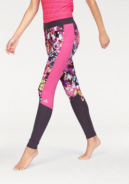 adidas Performance TECHFIT LONG TIGHT FLORAL PRINT funkcionális legging