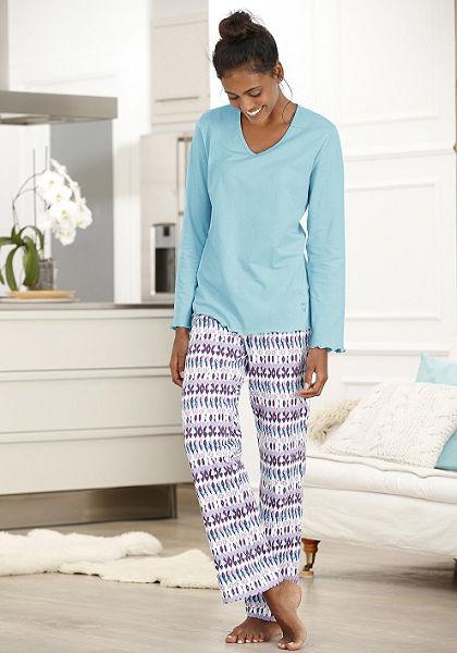 Divatos pizsama, Petite Fleur, divatos dizájn, mintás nadrág és egyszínű hosszú ujjú pólóval