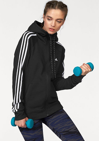 adidas Performance ESSENTIALS 3S HOODY mikina s kapucí